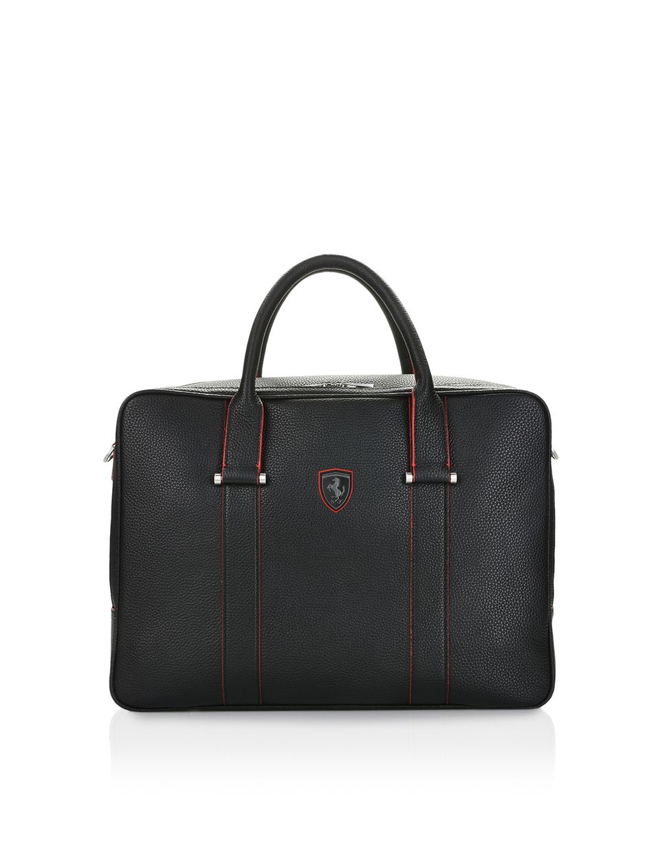 Scuderia Ferrari Online Store - Travel bag in hammered calfskin leather - Top Handle Bags