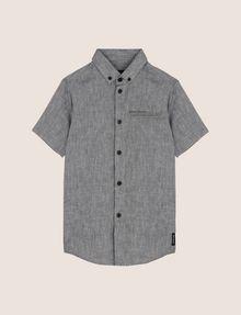 ARMANI EXCHANGE BOYS LINEN-BLEND CHAMBRAY SHIRT Short sleeve shirt [*** pickupInStoreShippingNotGuaranteed_info ***] f