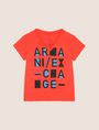 ARMANI EXCHANGE GIRLS POP-ART LOGO V-NECK Logo T-shirt Woman f