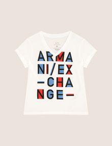 ARMANI EXCHANGE GIRLS POP-ART LOGO V-NECK Logo T-shirt Woman f