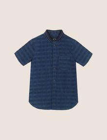 ARMANI EXCHANGE BOYS OVERDYED GINGHAM REGULAR SHIRT Short-Sleeved Shirt Man f