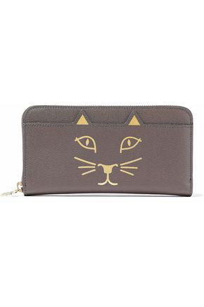 CHARLOTTE OLYMPIA Feline metallic printed textured-leather wallet