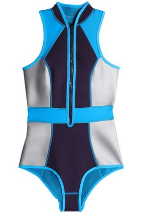 DUSKII Color-block neoprene swimsuit