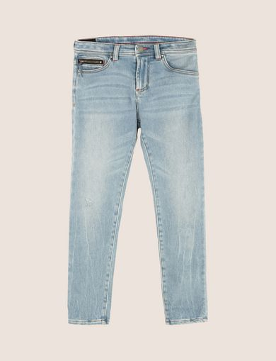 BOYS ZIP DETAIL TAPERED JEANS
