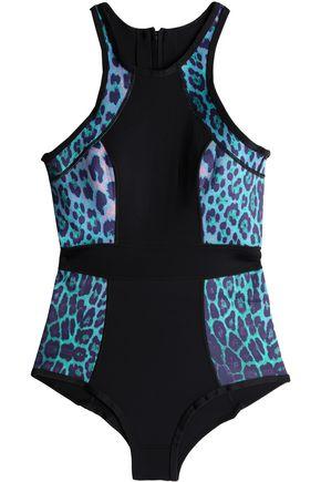 DUSKII Paneled leopard-print neoprene swimsuit