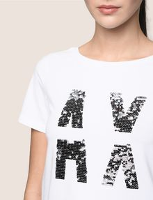 ARMANI EXCHANGE SEQUIN LOGO SPLIT TEE Logo T-shirt Woman b