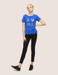 ARMANI EXCHANGE SEQUIN LOGO SPLIT TEE Logo T-shirt Woman d