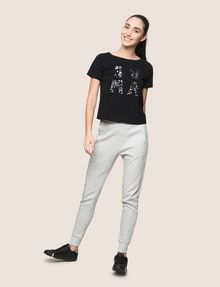 ARMANI EXCHANGE スパンコールロゴ Tシャツ ロゴTシャツ レディース d