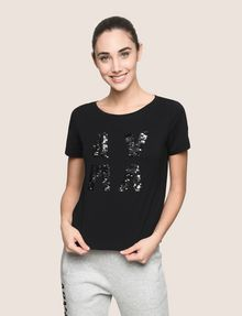 ARMANI EXCHANGE SEQUIN LOGO SPLIT TEE Logo T-shirt Woman f