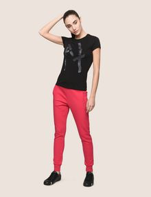 ARMANI EXCHANGE GLITTER TAPE LOGO TEE Logo T-shirt Woman d