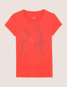 ARMANI EXCHANGE GLITTER TAPE LOGO TEE Logo T-shirt Woman r