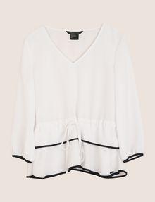 ARMANI EXCHANGE CINCHED-WAIST PEPLUM BLOUSE S/L Knit Top Woman r