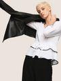 ARMANI EXCHANGE CINCHED-WAIST PEPLUM BLOUSE S/L Knit Top Woman a
