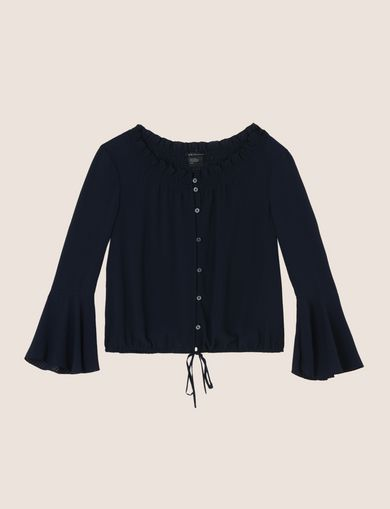 RUCHED BELL-SLEEVE BLOUSE