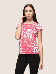 ARMANI EXCHANGE ALLOVER TYPE TEE Logo T-shirt Woman f