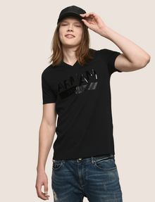 ARMANI EXCHANGE TONAL SHINE PRINT V-NECK Logo T-shirt Man a