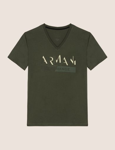 TONAL SHINE PRINT V-NECK