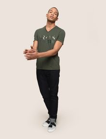 ARMANI EXCHANGE TONAL SHINE PRINT V-NECK Logo T-shirt Man d