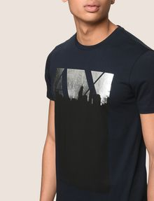 ARMANI EXCHANGE BLACKOUT CITYSCAPE FOIL TEE Logo T-shirt Man b