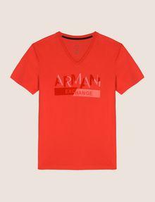 ARMANI EXCHANGE TONAL SHINE PRINT V-NECK Logo T-shirt Man r