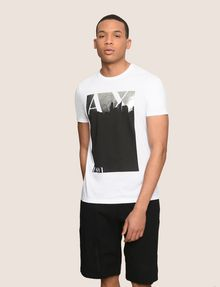 ARMANI EXCHANGE BLACKOUT CITYSCAPE FOIL TEE Logo T-shirt Man f