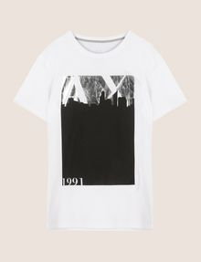 ARMANI EXCHANGE BLACKOUT CITYSCAPE FOIL TEE Logo T-shirt Man r
