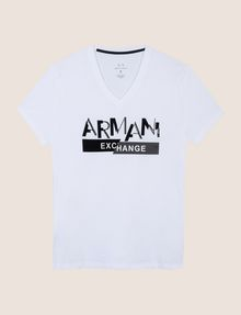 ARMANI EXCHANGE TONAL SHINE PRINT V-NECK Logo T-shirt Man r