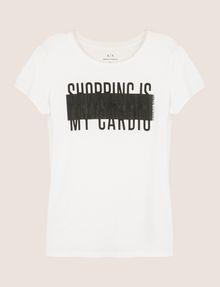 ARMANI EXCHANGE SHOPPING IS MY CARDIO TEE Logo T-shirt Woman r