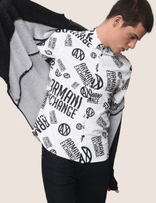 ARMANI EXCHANGE STRETCH CIRCLE LOGO PRINT SHIRT Long sleeve shirt Man a