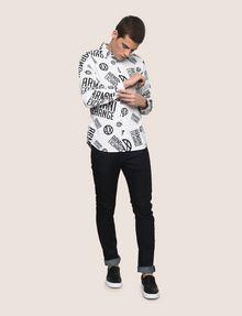 ARMANI EXCHANGE STRETCH CIRCLE LOGO PRINT SHIRT Long-Sleeved Shirt Man d