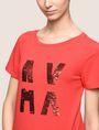 ARMANI EXCHANGE SEQUIN LOGO SPLIT TEE Logo T-shirt Woman b