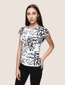 ARMANI EXCHANGE ALLOVER TYPE TEE Logo T-shirt Woman f