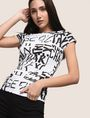 ARMANI EXCHANGE ALLOVER TYPE TEE Logo T-shirt Woman a