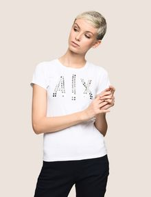 ARMANI EXCHANGE MIRRORED STUD LOGO TEE Logo T-shirt Woman f