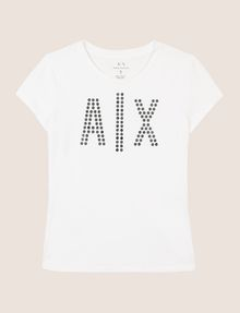 ARMANI EXCHANGE MIRRORED STUD LOGO TEE Logo T-shirt Woman r