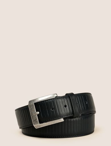 TEXTURED STRIPE LOGO BELT