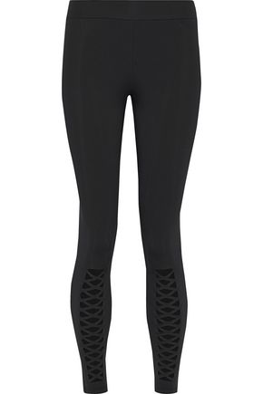 CUSHNIE ET OCHS Lace up-detailed stretch leggings