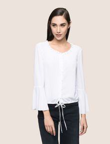 ARMANI EXCHANGE RUCHED BELL-SLEEVE BLOUSE L/S Woven Top [*** pickupInStoreShipping_info ***] f