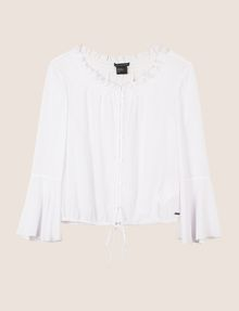 ARMANI EXCHANGE RUCHED BELL-SLEEVE BLOUSE L/S Woven Top [*** pickupInStoreShipping_info ***] r