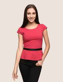 91bccf2bcc5 Armani Exchange CAP SLEEVE PEPLUM HEM TOP