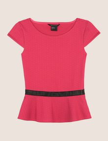 ARMANI EXCHANGE CAP-SLEEVE PEPLUM-HEM TOP S/L Knit Top Woman r