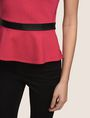 ARMANI EXCHANGE CAP-SLEEVE PEPLUM-HEM TOP S/L Knit Top Woman b