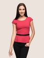 ARMANI EXCHANGE CAP-SLEEVE PEPLUM-HEM TOP S/L Knit Top Woman f
