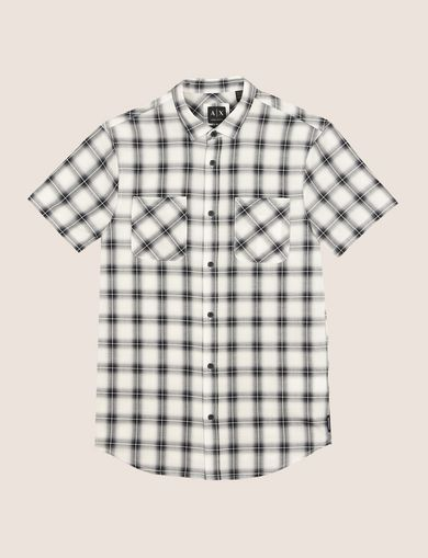 SLIM-FIT STRETCH DIRECTIONAL PLAID SHIRT
