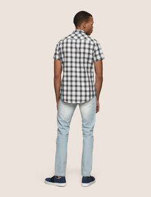 ARMANI EXCHANGE SLIM-FIT STRETCH DIRECTIONAL PLAID SHIRT Short sleeve shirt Man e