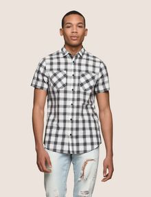 ARMANI EXCHANGE SLIM-FIT STRETCH DIRECTIONAL PLAID SHIRT Short sleeve shirt Man f