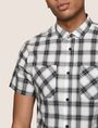 ARMANI EXCHANGE SLIM-FIT STRETCH DIRECTIONAL PLAID SHIRT Short sleeve shirt Man b