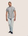 ARMANI EXCHANGE SLIM-FIT STRETCH DIRECTIONAL PLAID SHIRT Short sleeve shirt Man d