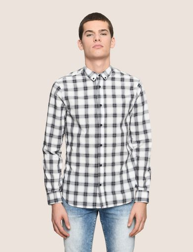 REGULAR-FIT STRETCH PLAID SHIRT