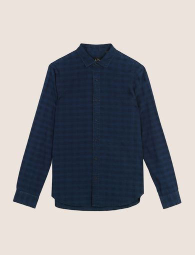 SLIM-FIT OVERDYED GINGHAM SHIRT